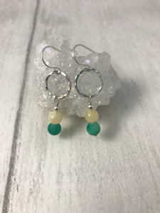 Green and Yellow Stone Silver Earrings