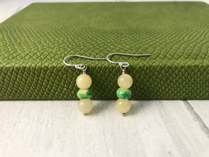 Butterscotch Jade and Green and Yellow Rondells Sterling Silver Jewellery Set