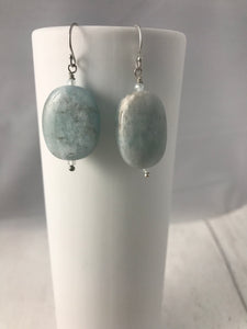 Aquamarine Smooth Pebble Sterling Silver Earrings