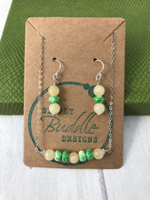 Load image into Gallery viewer, Butterscotch Jade and Green and Yellow Rondells Sterling Silver Jewellery Set