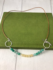 Green and Yellow Stone Toggle Necklace