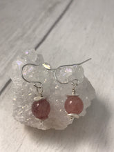 Load image into Gallery viewer, Strawberry Quartz and Sterling Silver Earrings