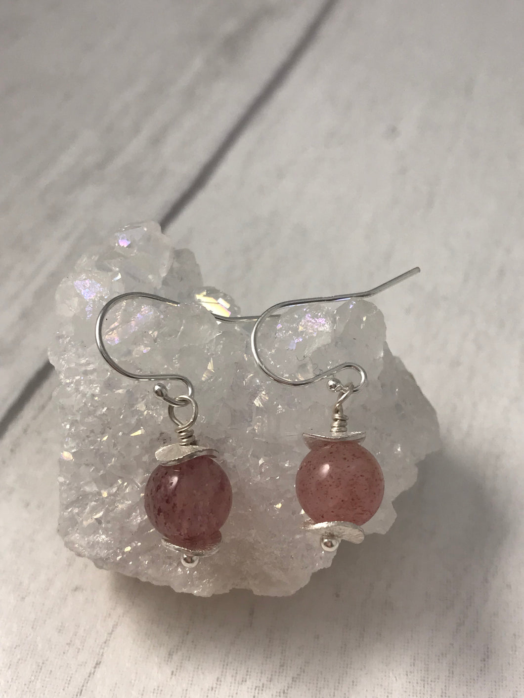 Strawberry Quartz and Sterling Silver Earrings
