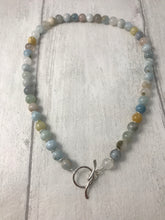 Load image into Gallery viewer, Aquamarine and Sterling Silver Toggle Necklace