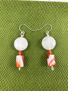 Retro Orange and White Earrings