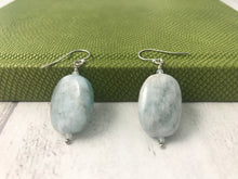 Load image into Gallery viewer, Aquamarine Smooth Pebble Sterling Silver Earrings