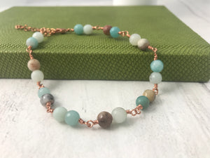Amazonite and Copper Bracelet