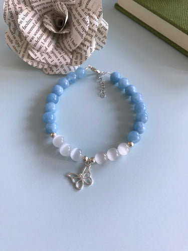Blue and White Butterfly Bracelet