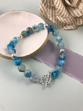 Load image into Gallery viewer, Blue Agate and Twisted Toggle Bracelet