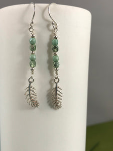 Pale Green Crystal and Silver Leaf Earrings