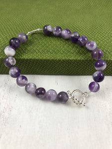 Amethyst and Twist Silver Bracelet