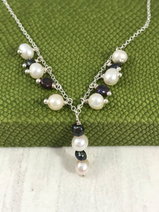 White and Peacock Pearl Necklace