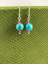 Load image into Gallery viewer, Turquoise and Pink Crystal Earrings