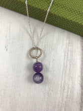 Load image into Gallery viewer, Amethyst and Twist Silver Pendant and Chain