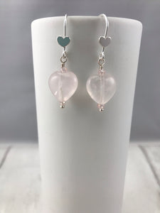 Puff Rose Quartz Earrings