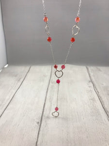 Silver Heart and Pink Agate Necklace