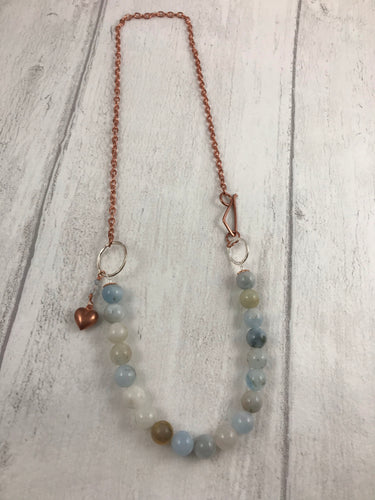 Aquamarine and Copper Toggle Necklace