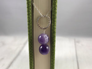 Amethyst and Twist Silver Pendant and Chain