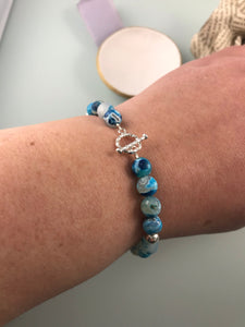 Blue Agate and Twisted Toggle Bracelet