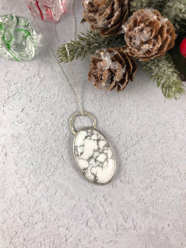 Sterling Silver and Howlite Pendant and Chain