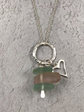 Load image into Gallery viewer, Sea Glass Heart Charm Pendant and Chain