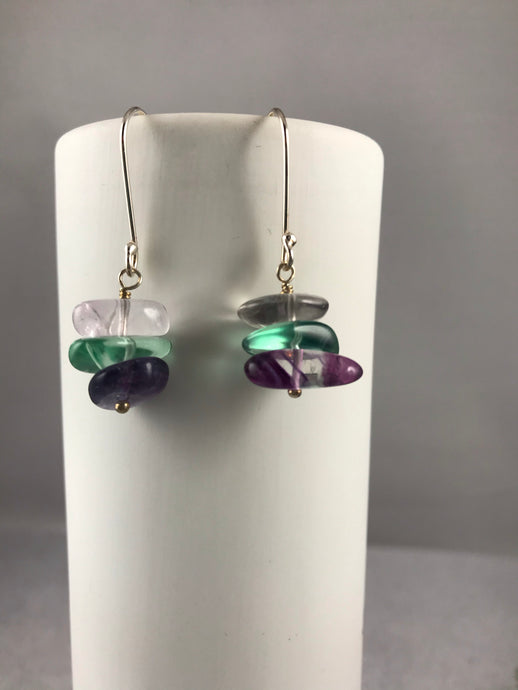 Fluorite Pebble Earrings