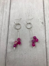 Load image into Gallery viewer, Bright Pink Agate Earrings