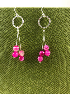 Bright Pink Agate Earrings