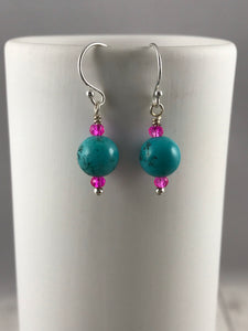 Turquoise and Pink Crystal Earrings