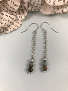 African Turquoise Dangly Earrings