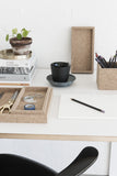 Work space with cork trays and pencilcup from MALLING LIVING