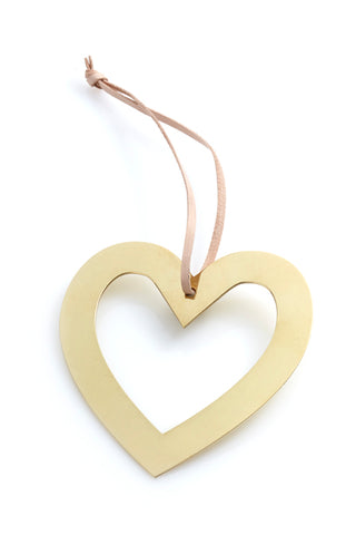 Heart with Hole Ornament - Brass