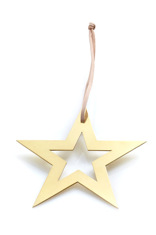 Star with Hole Ornament - Brass