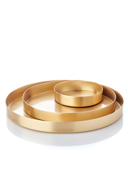 Round Tray Set Brass from MALLING LIVING