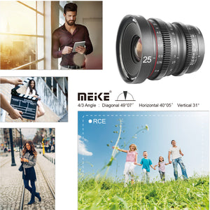 Meike Cinema Prime 25mm T2.2 for Micro4/3, Fuji X, and Sony E Mount - Revar Cine