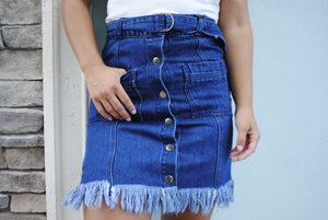 Stripped Down Denim Skirt