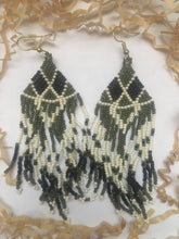 Load image into Gallery viewer, Olive Beaded Dangle Earrings