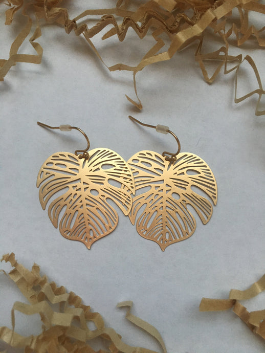Monstera Stencil Earrings