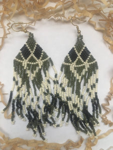 Olive Beaded Dangle Earrings