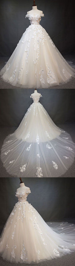 White tulle lace applique long prom dress, white lace wedding dress