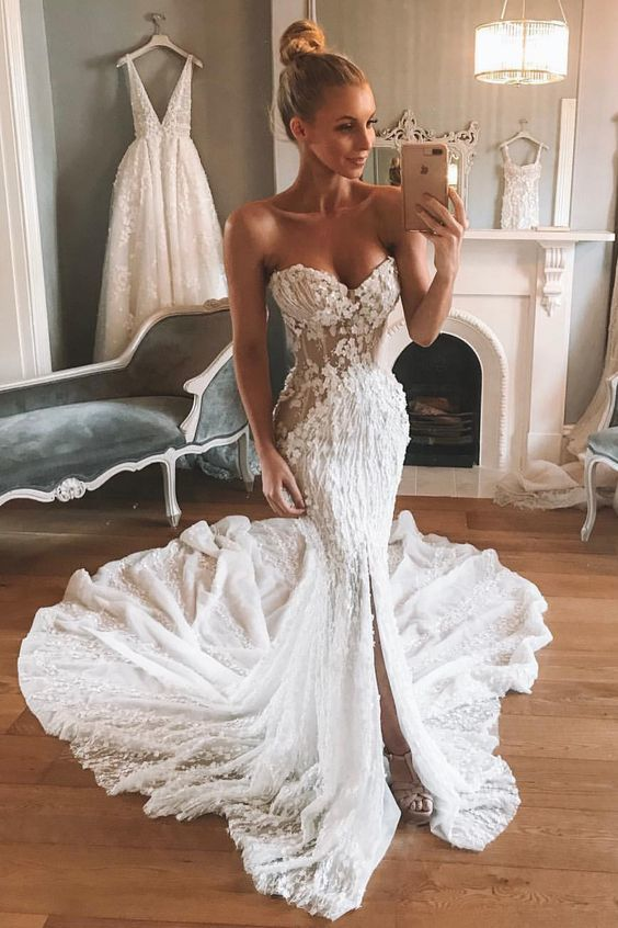 sexy sweetheart mermaid white lace long wedding dresses with train
