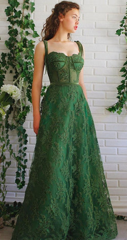 green ball gown lace quinceanera dress
