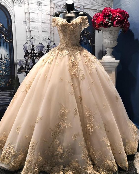 Light Champagne Tulle Ball Gowns Wedding Dresses Lace V-neck Off-the-shoulder