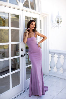 Lilac Square Neck Bodycon Formal/Prom Dress