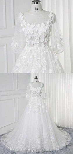 White Lace Flowers Half sleeves Bridal Wedding Dress, Sheer Back Prom Dress