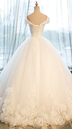 White organza off-shoulder wedding dresses, ball gown dress