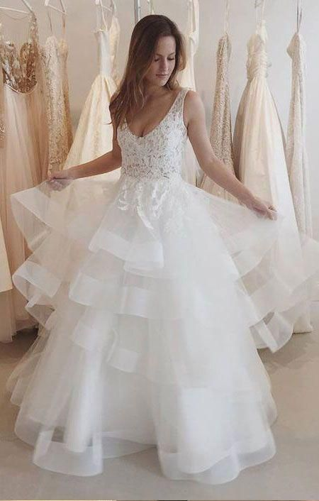 Pretty Long V-neck Lace Ivory Backless Elegant Wedding Dresses,Bridal Gowns,Disney Wedding Gowns