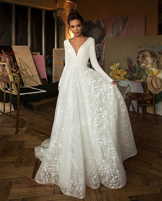 White Tulle A Line Wedding Dress Sexy Deep V Neck Long Sleeves Stunning Back