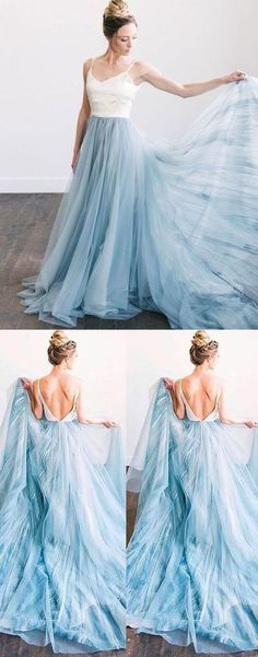 Prom Dresses Ball Gown, spaghetti straps backless long blue prom dresses bridal dresses for wedding party