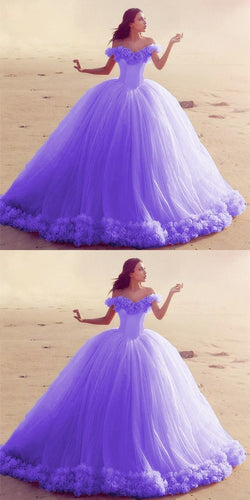 Off The Shoulder Tulle Flower Wedding Dresses Ball Gowns